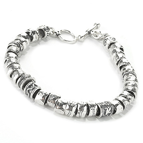 135-697 - Passage to Israel Sterling Silver Hammered Bead Toggle Bracelet