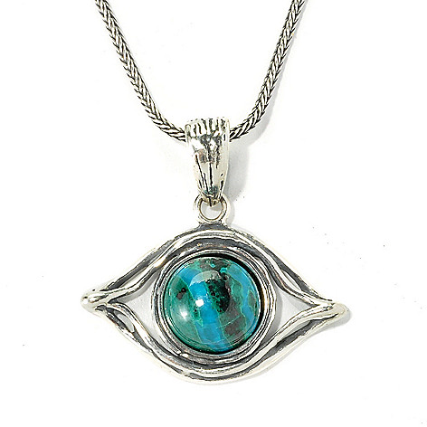 135-699 - Passage to Israel Sterling Silver Round Chrysocolla Symbolic Pendant w/ 18'' Chain