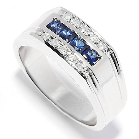 135-707 - Ultimate Silver™ Men's 0.68ctw Sapphire & Diamond Three-Row Flat Top Ring