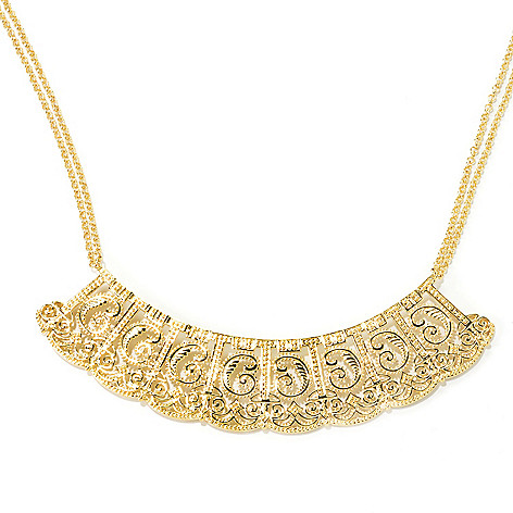 135-710 - Jaipur Bazaar 18K Gold Embraced™ 16'' Ornate Double Chain Collar Necklace