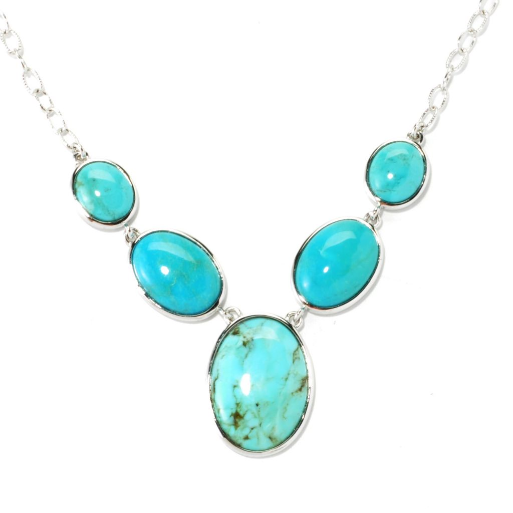 "135-712 - Gem Insider Sterling Silver 18"" Ma'anshan & Anhui Turquoise Y-Drop Necklace"