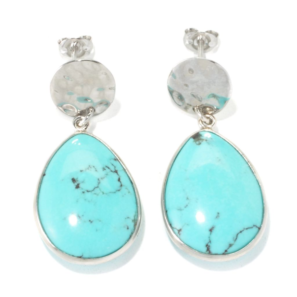 "135-714 - Gem Insider Sterling Silver 1 3/8"" 20 x 15mm Anhui Turquoise Teardrop Earrings"