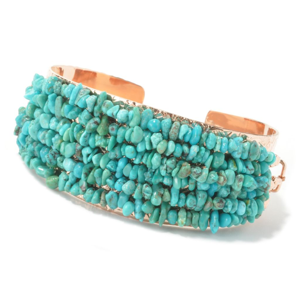 "135-719 - Elements by Sarkash Copper 6.5"" Turquoise Chip Beaded Cuff Bracelet"