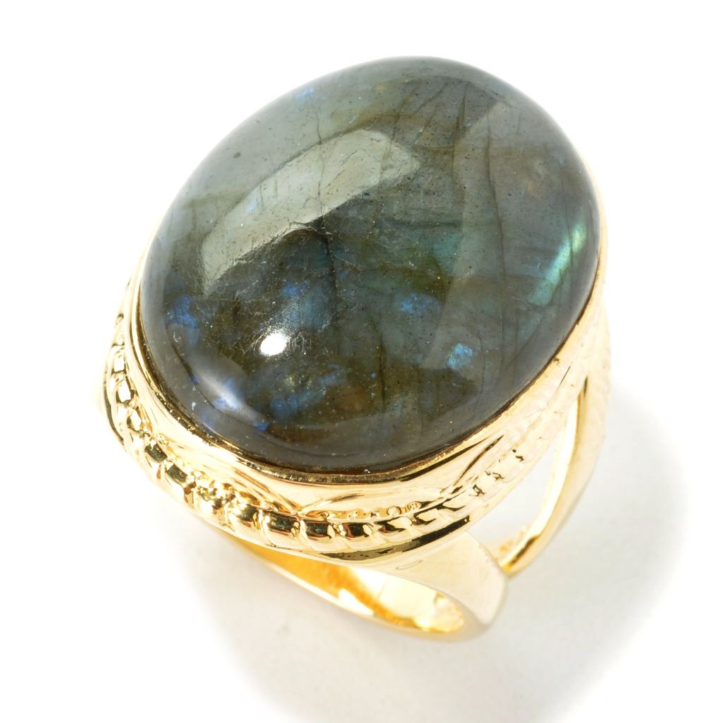135-720 - Elements by Sarkash 20 x 16mm Oval Labradorite Split Shank Ring
