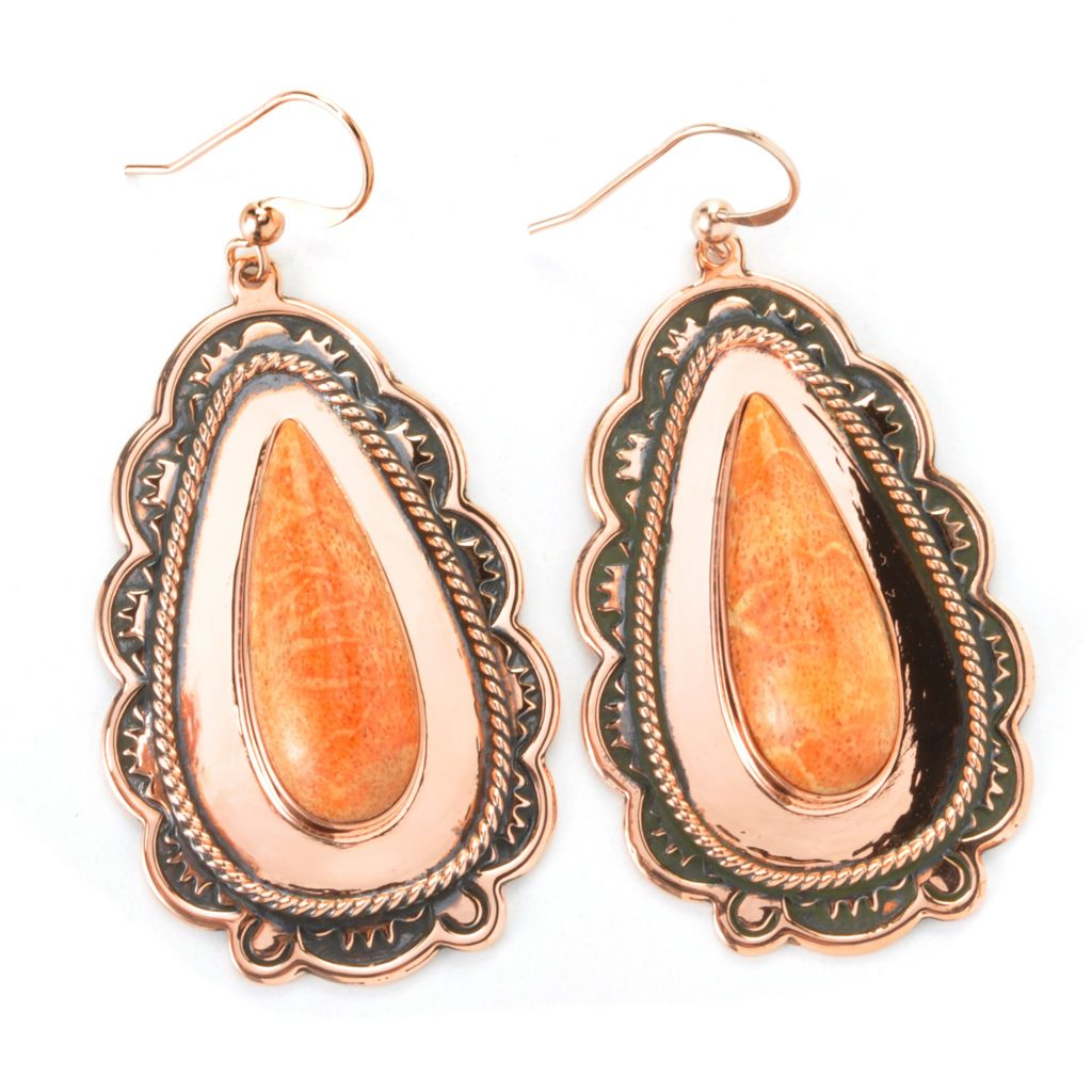 "135-721 - Elements by Sarkash Copper 2.5"" 26 x 10mm Sponge Coral Drop Earrings"