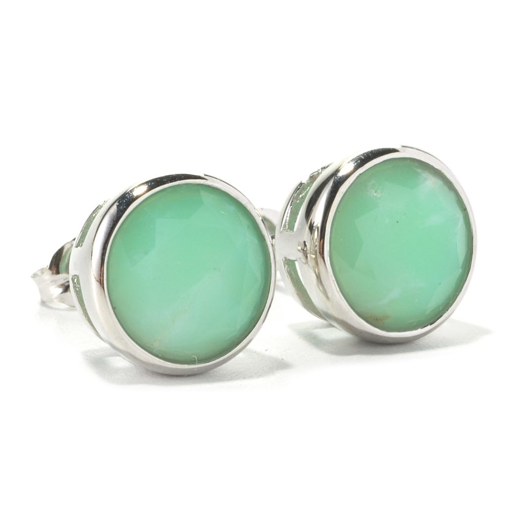 135-723 - Gem Insider Sterling Silver 9mm Round Faceted Gemstone Stud Earrings