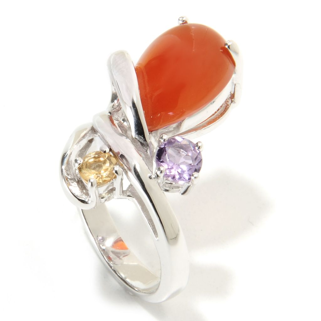 135-728 - Gem Insider Sterling Silver 14 x 10mm Carnelian, Citrine & Amethyst Ring