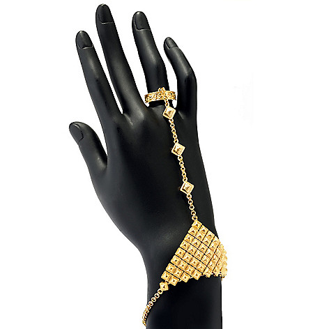 135-731 - Jaipur Bazaar 7.5'' 18K Gold Embraced™ Textured Bracelet w/ Connected Filigree Ring