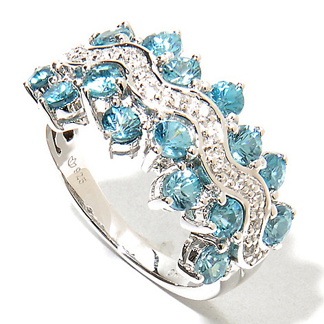 135-733 - NYC II™ 3.05ctw Blue & White Zircon 16-Stone Staggered Edge Band Ring