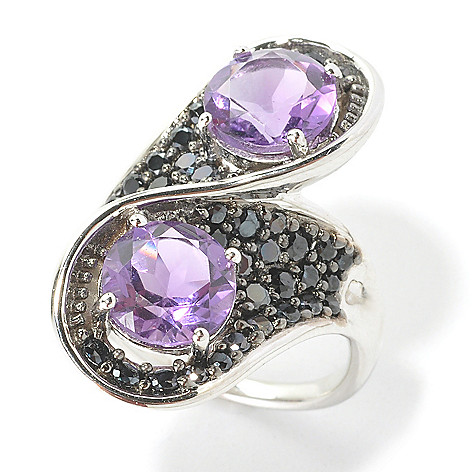 135-751 - Gem Treasures Sterling Silver 4.80ctw Amethyst & Black Spinel Bypass Ring