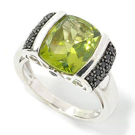 135-754 - Gem Treasures Sterling Silver 3.87ctw Peridot & Black Spinel Scrollwork Ring