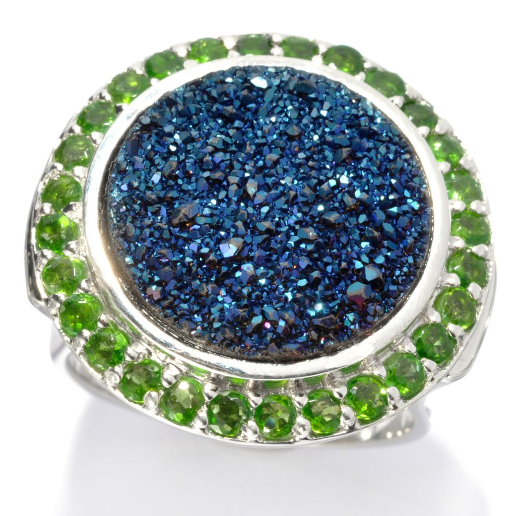 135-755 - Gem Insider Sterling Silver 15mm Blue Drusy & Chrome Diopside Halo Ring
