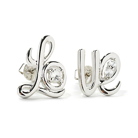 135-757 - NYC II White Zircon Cursive ''Love'' Stud Earrings