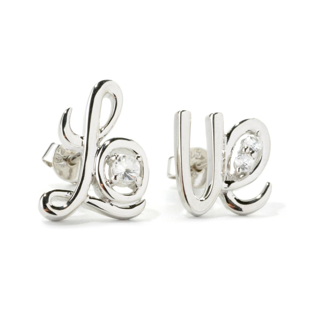 "135-757 - NYC II White Zircon Cursive ""Love"" Stud Earrings"