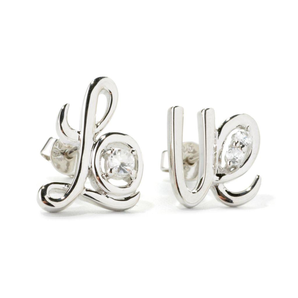 "135-757 - NYC II White Zircon Cursive ""Love"" Stud Earrings"