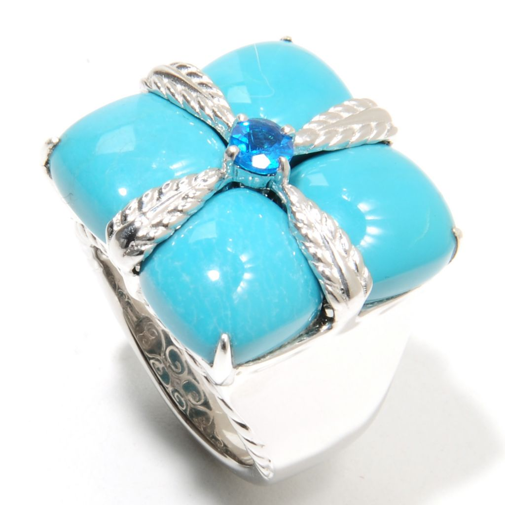 135-758 - Gem Insider Sterling Silver 10mm Anhui Turquoise & Neon Blue Apatite Ring