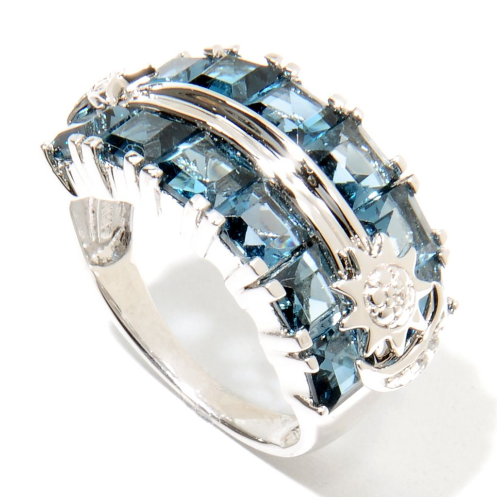 135-759 - NYC II 4.71ctw London Blue Topaz & White Zircon Celestial Band Ring