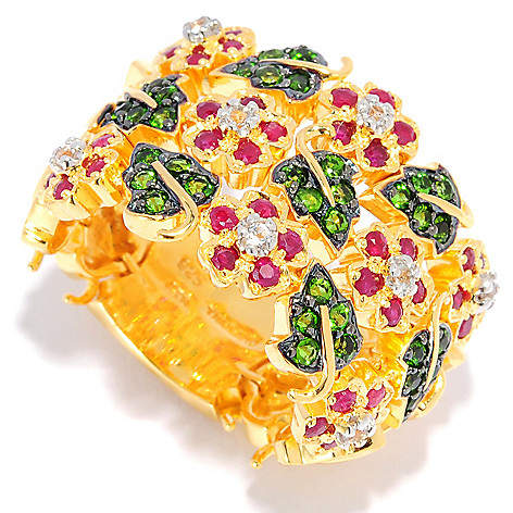 135-765 - NYC II 1.62ctw Ruby, Chrome Diopside & White Topaz Flower Flex Band Ring