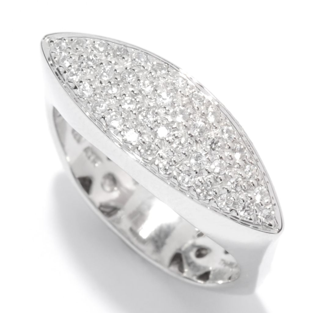 135-766 - NYC II Pave Set White Zircon Marquise Shaped Euro Shank Ring