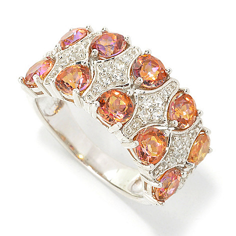 135-768 - Gem Treasures Sterling Silver 3.24ctw Multi Topaz Double Row Wide Band Ring