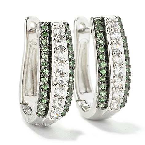 135-770 - Gem Treasures Sterling Silver Tsavorite & White Zircon Huggie Hoop Earrings