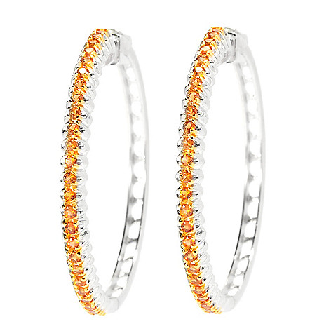135-771 - Gem Treasures Sterling Silver 1.75'' Gemstone Fishtail Design Hoop Earrings