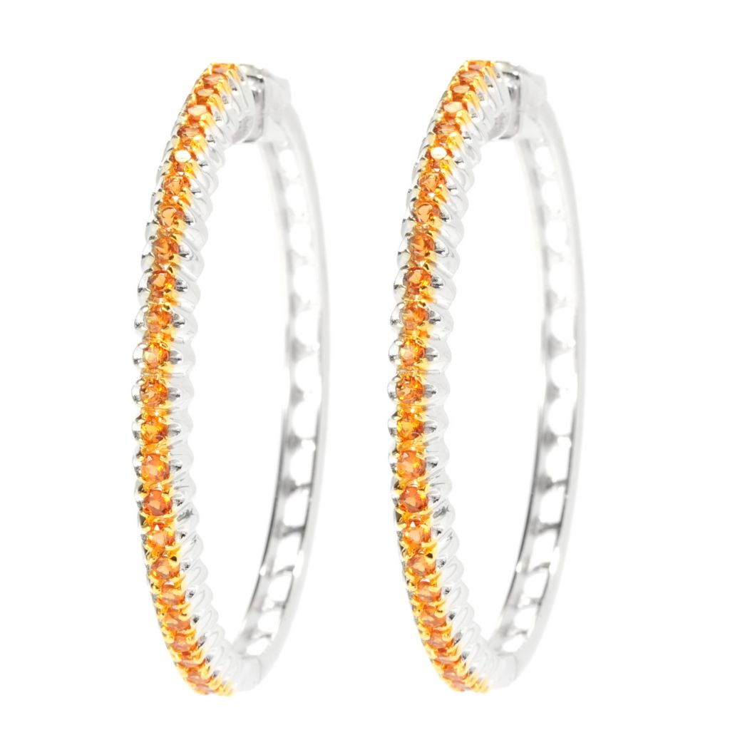 "135-771 - Gem Treasures Sterling Silver 1.75"" Gemstone Fishtail Design Hoop Earrings"