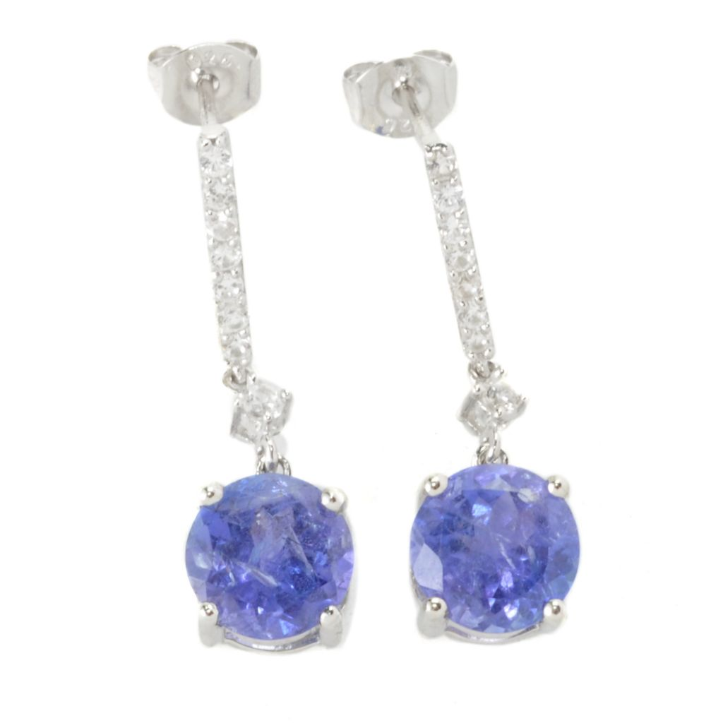 "135-772 - Gem Treasures Sterling Silver 1"" 4.68ctw Tanzanite & White Topaz Drop Earrings"
