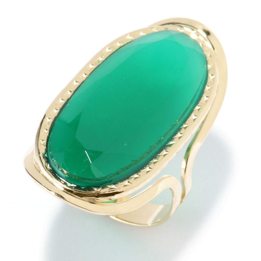 135-775 - Viale18K® Italian Gold 29 x 13mm Oval Green Chalcedony Elongated Ring