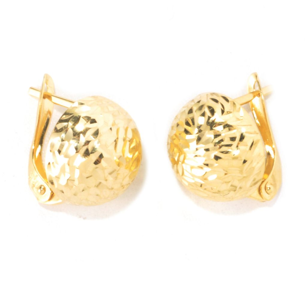135-781 - Viale18K® Italian Gold Diamond Cut Button Earrings
