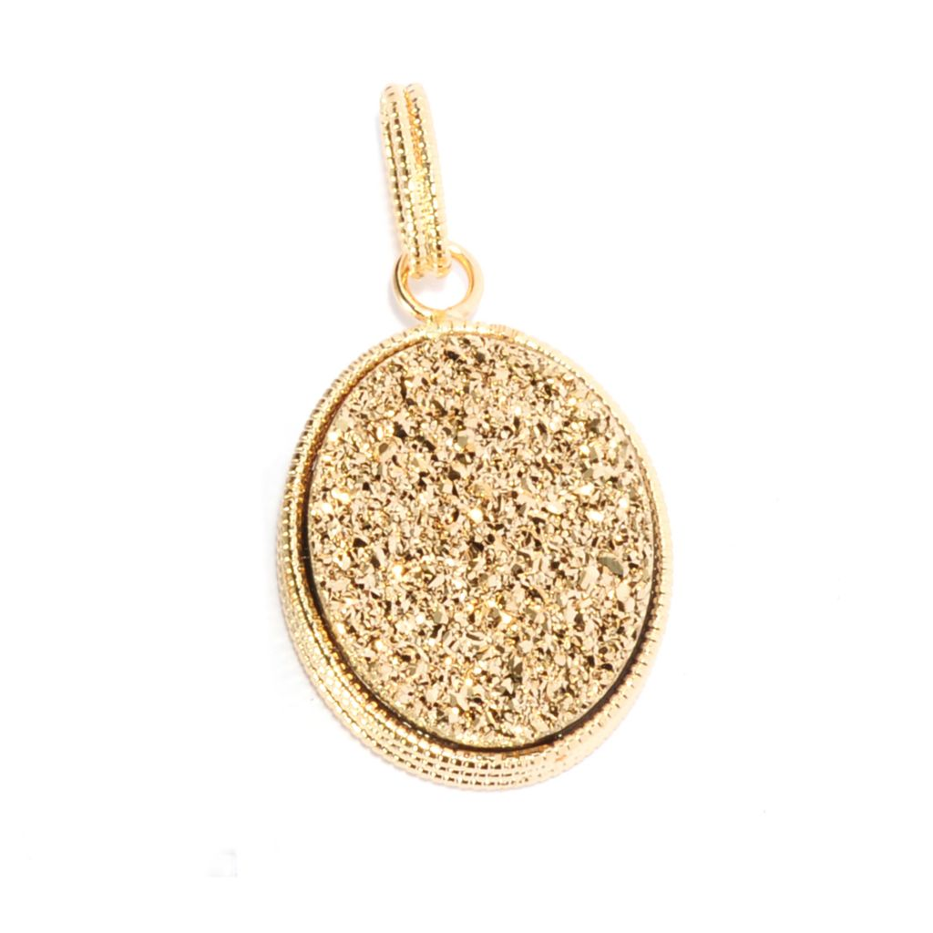 135-786 - Viale18K® Italian Gold 20 x 16mm Oval Golden Drusy Textured Pendant