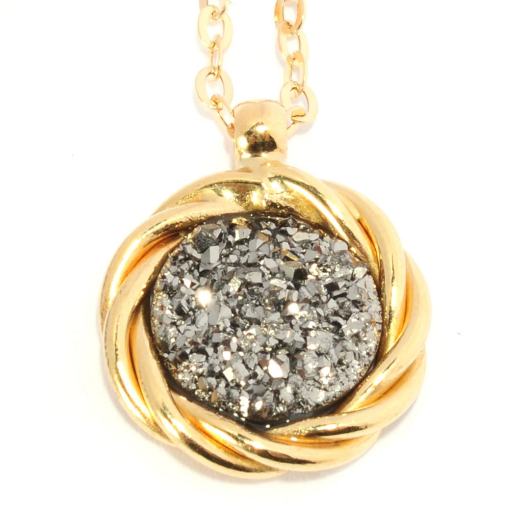 "135-787 - Viale18K® Italian Gold 18"" 9mm Silver Drusy Twisted Halo Necklace"