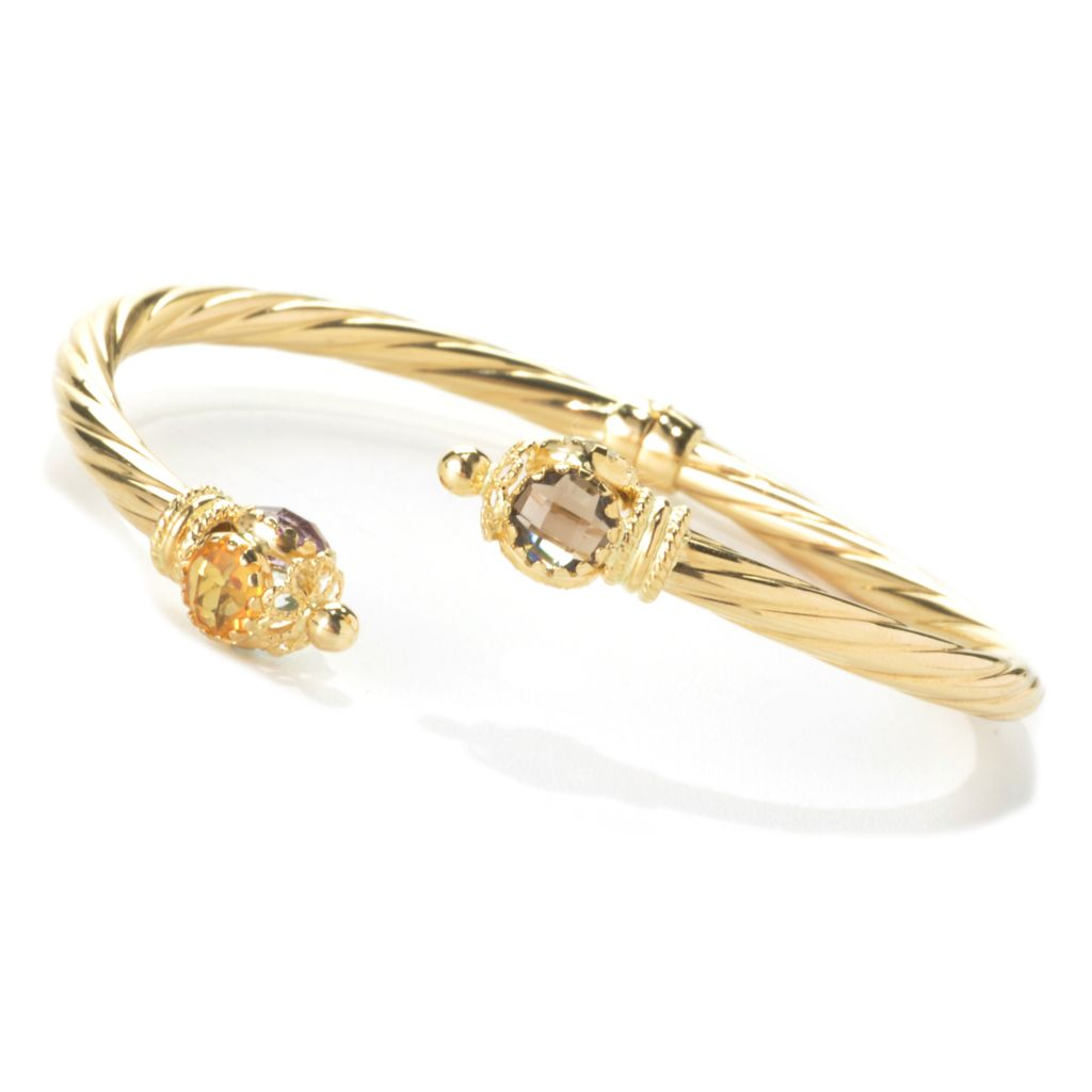 "135-791 - Viale18K® Italian Gold 6.75"" Multi Gem Endcap Twisted Hinged Bangle Bracelet"