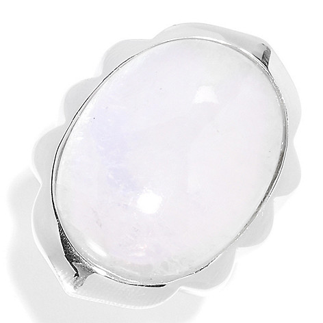 135-795 - Gem Insider Sterling Silver 27 x 20mm Oval Moonstone Ring