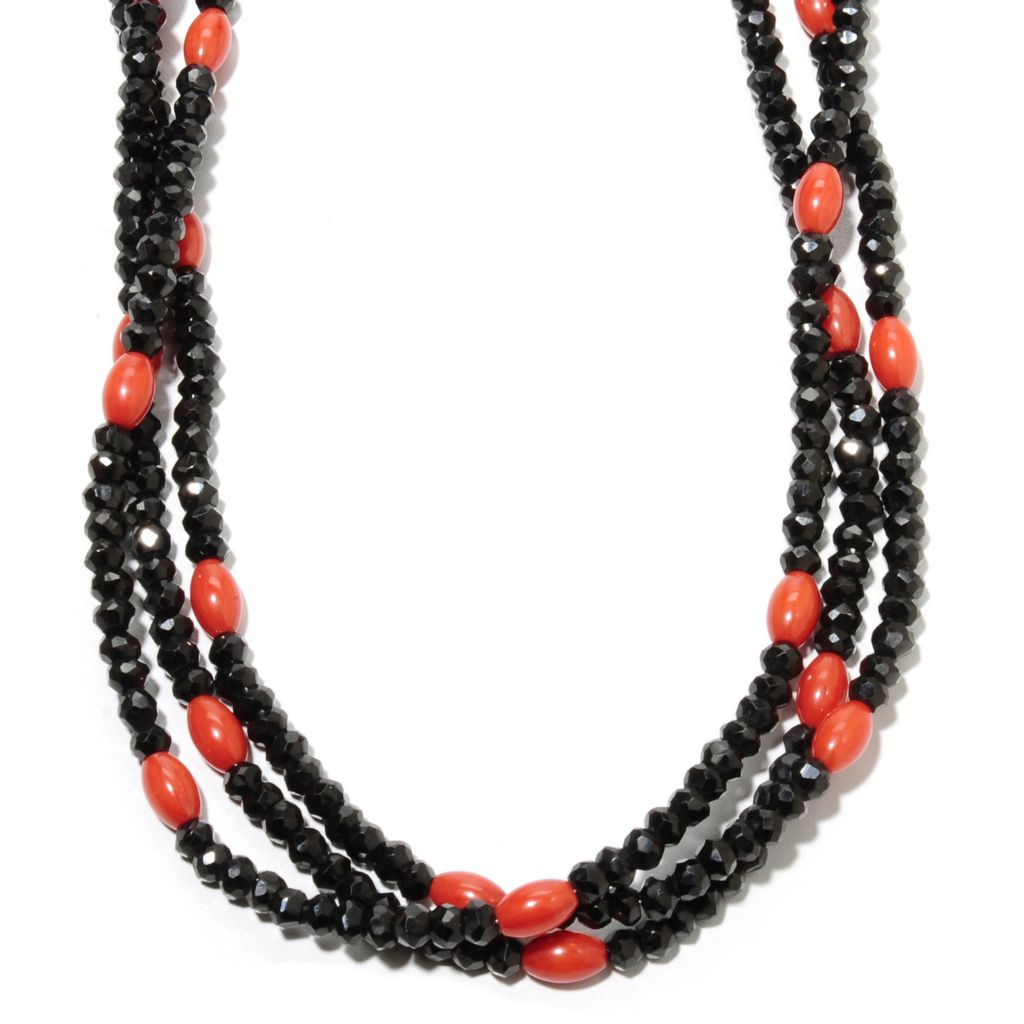 "135-800 - Gem Treasures Sterling Silver 18"" Spinel & Red Coral Three-Strand Bead Necklace"