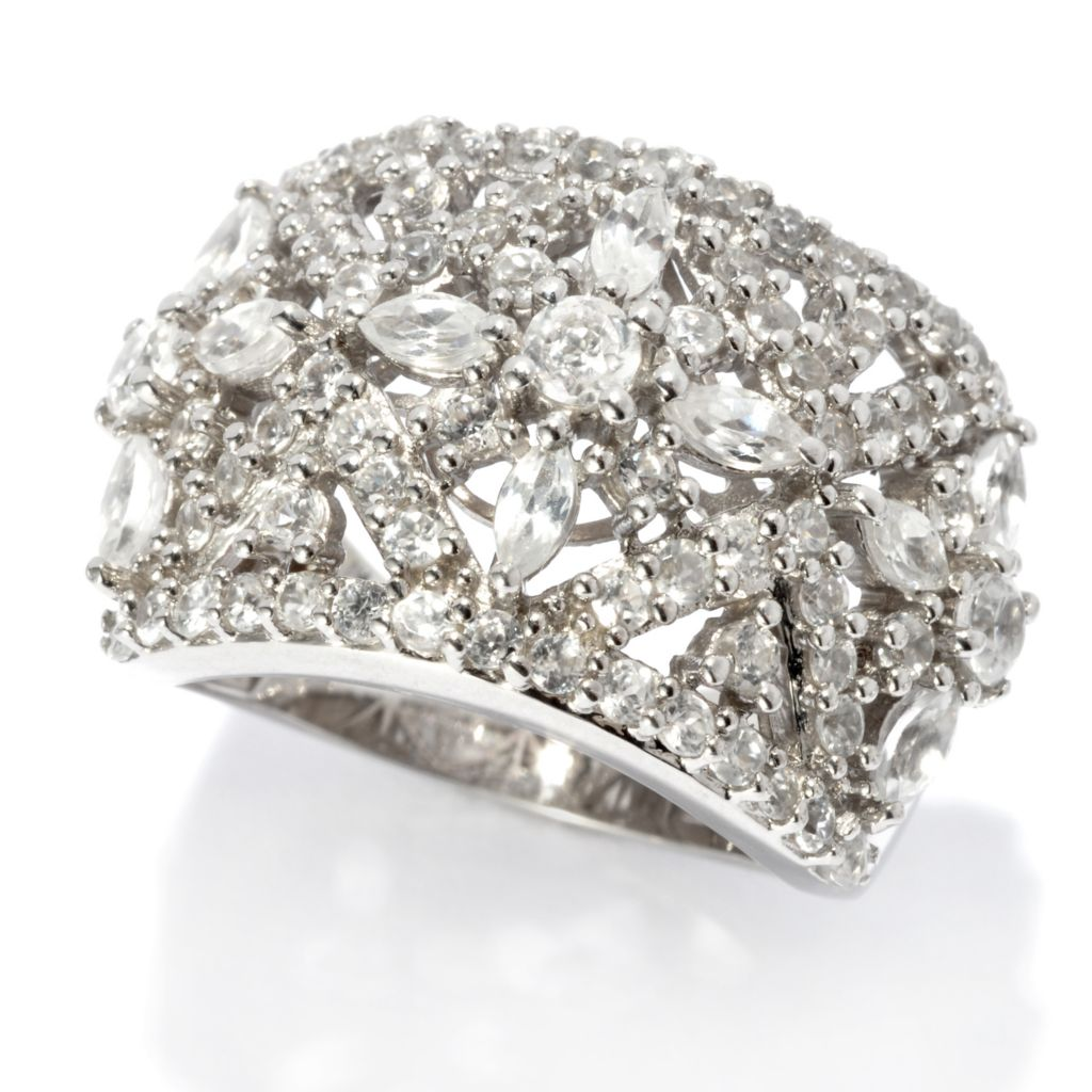 135-804 - NYC II 2.79ctw White Zircon Flower Wide Band Ring