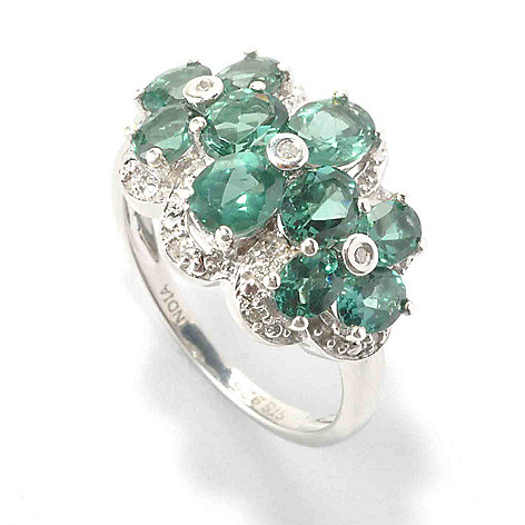 135-805 - NYC II 1.93ctw Teal Apatite & Diamond Multi Flower Ring