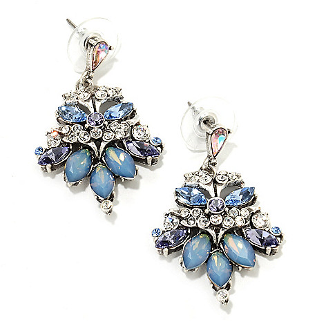 135-810 - Sweet Romance™ 1.5'' Multi Crystal Vintage-Style Drop Earrings