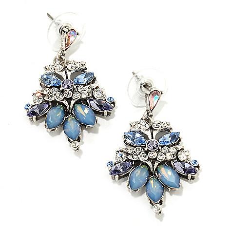 135-810 - Sweet Romance™ 1.5'' Multi Crystal Vintage-Style Drop Earrings