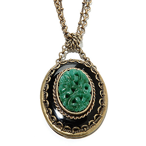 135-815 - Sweet Romance™ 22.25'' Crystal & Carved Glass Vintage-Style Drop Necklace