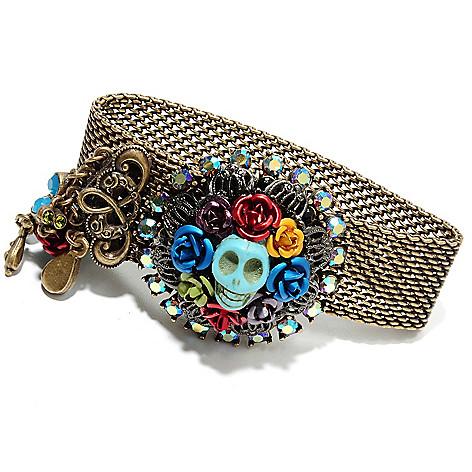 135-819 - Sweet Romance™ 7.5'' Magnesite & Crystal RetroMex Skull Wreath Mesh Bracelet