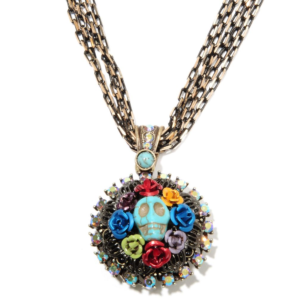 "135-820 - Sweet Romance™ 16.5"" Magnesite, Crystal & Glass Skull Wreath RetroMex Necklace"