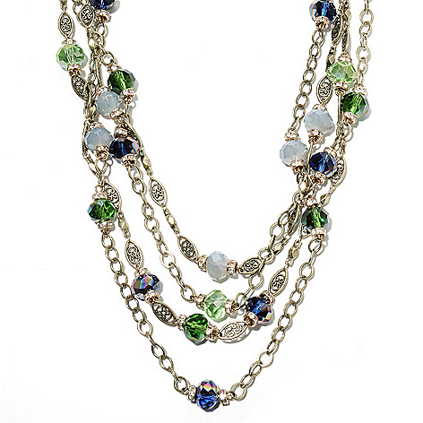 135-821 - Sweet Romance™ 19.25'' Multi Color Crystal & Glass Four-Strand Station Necklace
