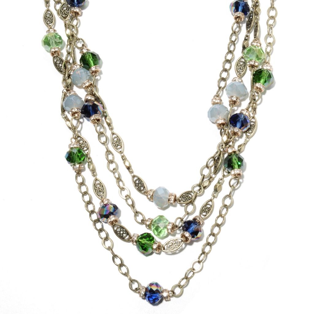 "135-821 - Sweet Romance™ 19.25"" Multi Color Crystal & Glass Four-Strand Station Necklace"
