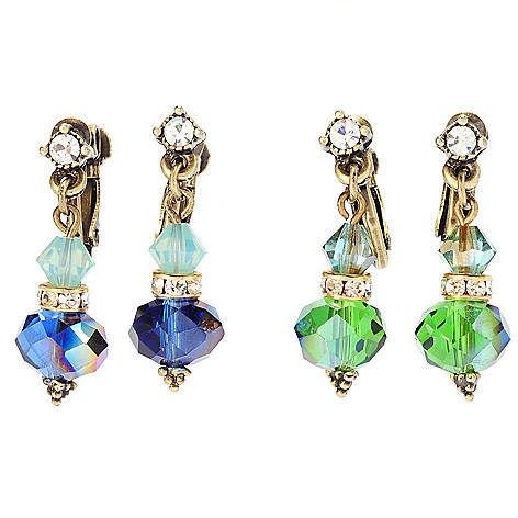 135-822 - Sweet Romance™ Set of Two 1'' Multi Color Crystal & Glass Clip-on Earrings