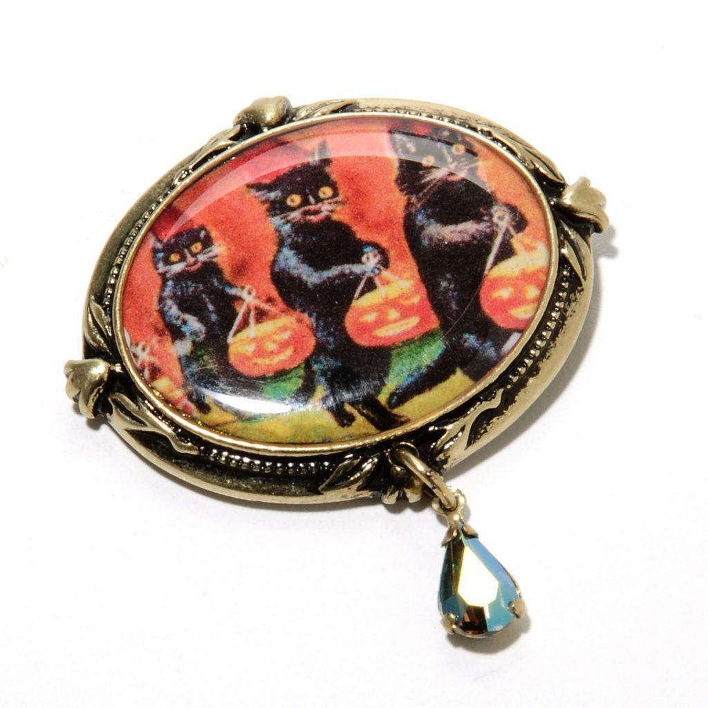 135-823 - Sweet Romance™ Crystal & Enamel Halloween Themed Oval Pin