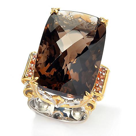 135-824 - Gems en Vogue 50.40ctw Smoky Quartz & Orange Sapphire Elongated Ring