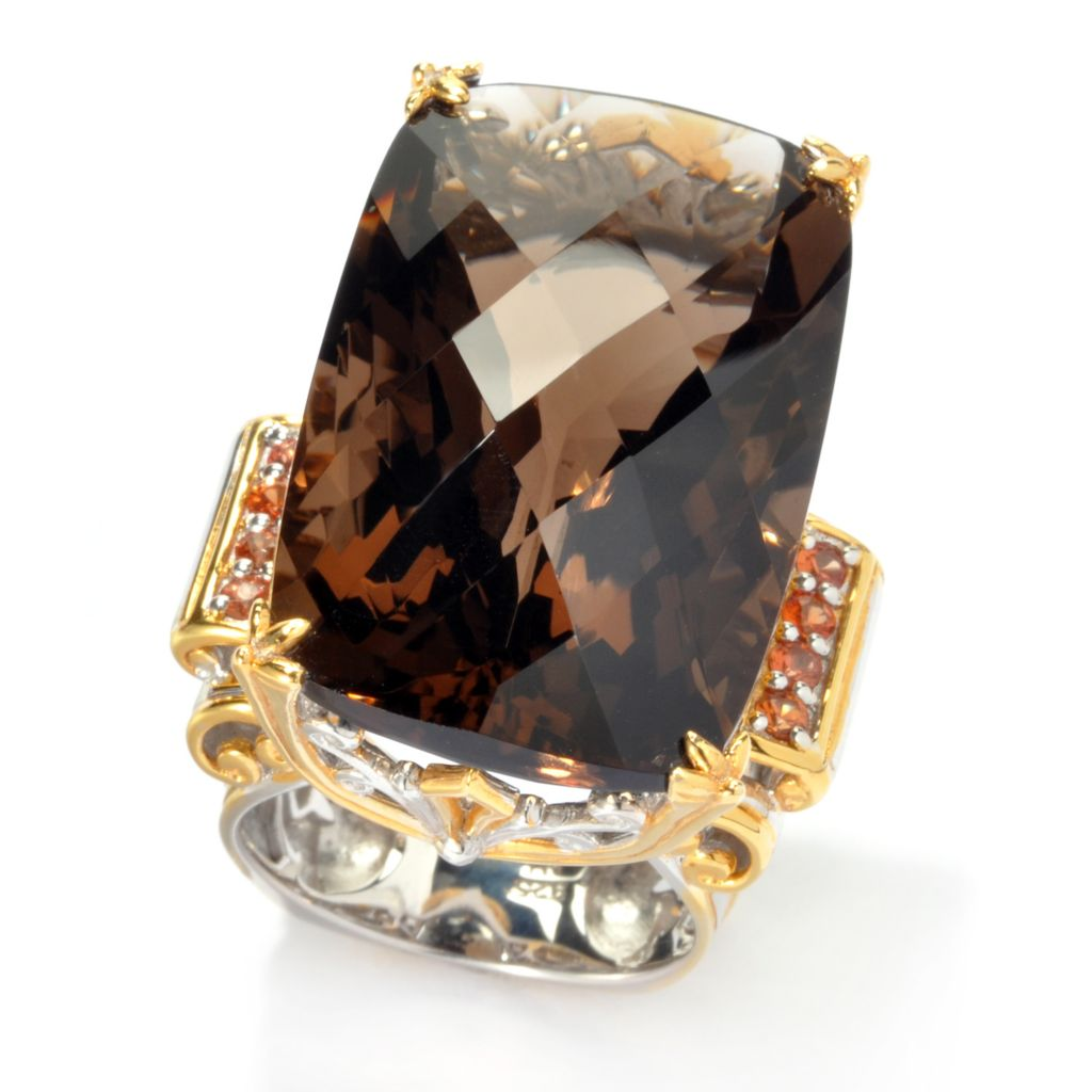 135-824 - Gems en Vogue 50.40ctw Smoky Quartz & Orange Sapphire Elongated Ring