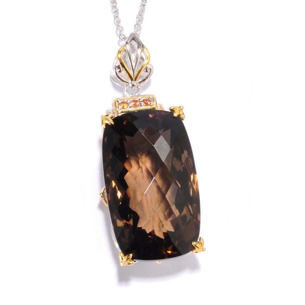 "135-825 - Gems en Vogue II 50.15ctw Smoky Quartz & Orange Sapphire Elongated Pendant w/ 18"" Chain"