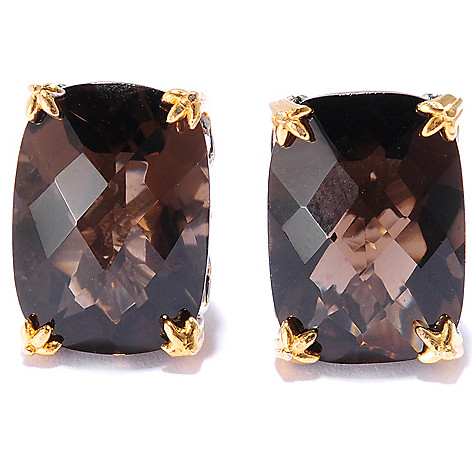 135-826 - Gems en Vogue II 11.48ctw Cushion Cut Smoky Quartz Stud Earrings